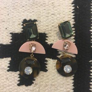 J. Crew pink tortoise shell gem earrings